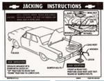 1964 - 1966 Chevelle Trunk Deck Lid Jacking Instructions Decal