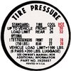 1967 Chevelle Glove Box Tire Pressure Decal, SS Models, 3910996