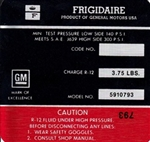 1972 Air Conditioning Compressor Label (Red)