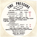 1968 Nova Tire Pressure Decal, E70 x 14, With Air, AC, 3934877