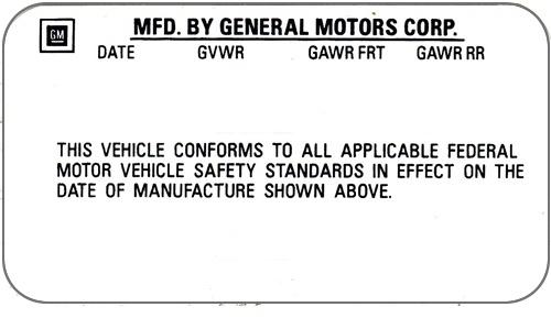 1976 - 1977 Door Jam Vin Number Certification Decal