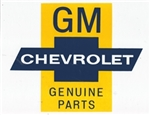 "GM CHEVROLET GENUINE PARTS DECAL, 9"" X 7"""