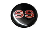Center Cap Decal, Black with Red SS, 1 3/4 Inches, Each