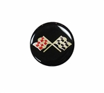Center Cap Decal, Black with Crossed Flags, 1 3/4 Inches, Each