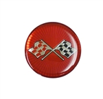 Center Cap Decal, Red with Crossed Flags, 1 3/4 Inches, Each