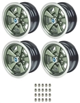 1971 - 1972 Chevelle Five Spoke Steel Mag Wheel Kit, New with Center Cap and Trim Ring Choices