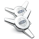 Cragar Chrome S/S Vintage Spinner Replacement Center Caps, PAIR