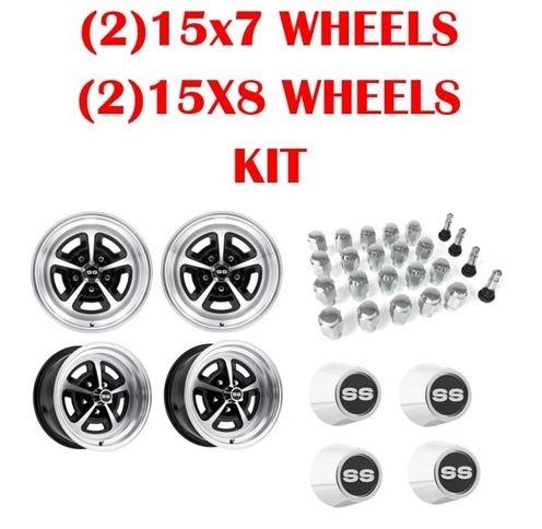 Magnum 500 Wheels >> Legendary Magnum 500 Alloy Ss Wheel Kit 2 15x7 And 2 15x8 Super Sport Wheels Ss Center Caps Lug Nuts And Valve Stem Kit Gm Bolt Pattern
