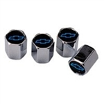 Air Valve Stem Caps with Blue Bowtie, Set of 4