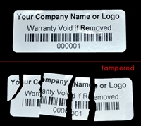 Custom Print Destructible Warranty Label, Custom Print Destructible Warranty Sticker, Custom Print Destructible Warranty Seal