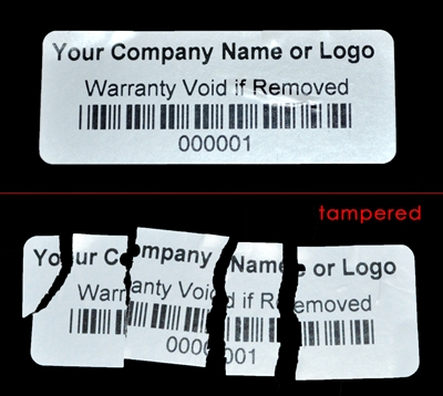 White Custom Print Destructible Warranty Security Label Sticker, White Custom Print Destructible Warranty Security Sticker Seal, White Custom Print Destructible Warranty Security Seal Label