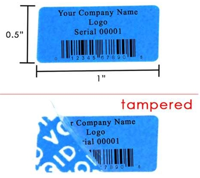 Custom Print Blue Security Label, Custom Print Blue Security Sticker, Custom Print Blue Security Seal,