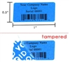 Customized Print Blue Security Label, Customized Print Blue Security Sticker, Customized Print Blue Security Seal,