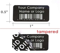 Custom Print Black Security Label, Custom Print Black Security Sticker, Custom Print Black Security Seal,