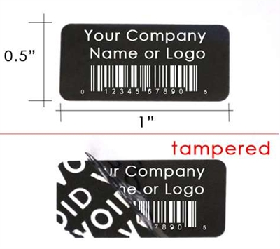 Customized Print Black Security Label, Customized Print Black Security Sticker, Customized Print Black Security Seal,