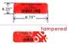 Custom Red Tamper Evident Label, Custom Red Tamper Evident Sticker, Custom Red Tamper Evident Seal,