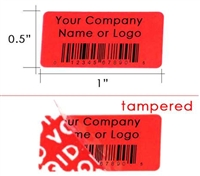 Custom Red Security Label, Custom Red Security Sticker, Custom Red Security Seal,