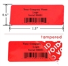Custom Print Red warranty Label, Custom Print Red warranty Sticker, Custom Print Red warranty Seal,
