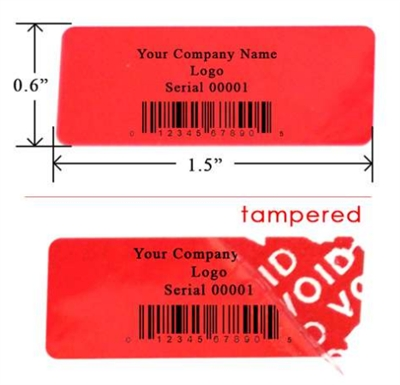 Customized Print Red warranty Label, Customized Print Red warranty Sticker, Customized Print Red warranty Seal,
