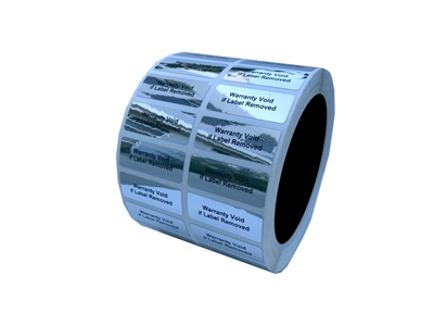 "2000 Silver Bright  TamperVoid Metallic Tamper Evident Security Labels Seal Sticker,  Rectangle 1.5"" x 0.6"" (38mm x 15mm). Printed: Warranty Void if Label Removed."