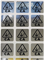 "2,000 Silver Tamper Evident Security Labels California Marijuana Universal Symbol Warning Labels - Size: 0.75"" x 0.75"" (19mmx19mm)"