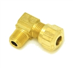 Elbow Compression 1/4 DOT x 1/8 (M) NPT - Brass