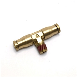 "Male pipe branch Tee coupling 1/4"" DOT - 1/8"" pipe push in"