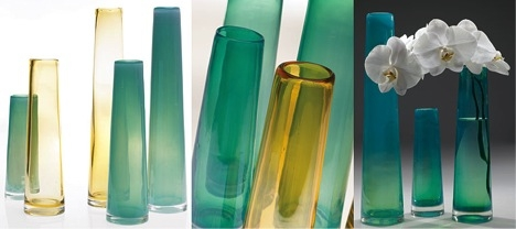 The Serenity Vase is available in Amber or Blue. Both colors available in Medium or Large.
