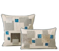 Modern Square Blue Mosaic  Cowhide Pillow