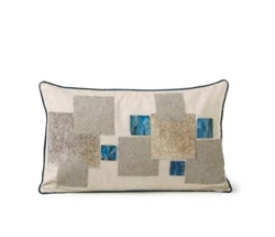 Modern Blue Lumbar Mosaic  Cowhide Pillow