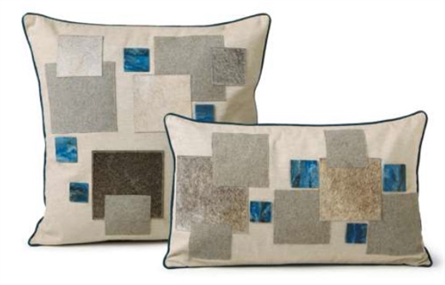 Modern Blue Mosaic Cowhide Pillows