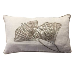 "Ginko White Modern Pillow 12"" x 20"""