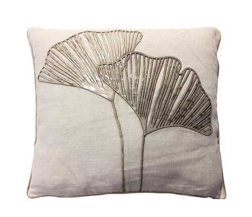 "Ginko White Modern Pillow 20"" x 20"""