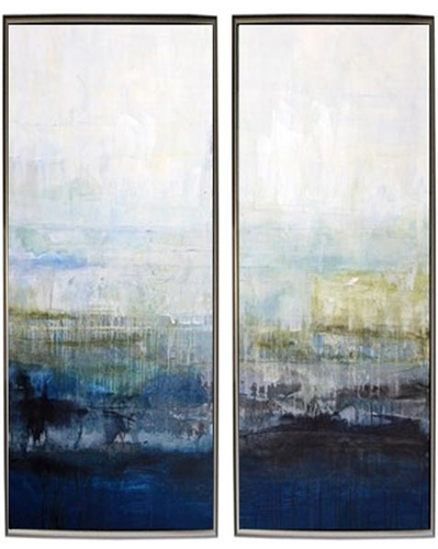 Rain Duo Modern Art Set of Two Modern Art  with Silver Floating Frame available