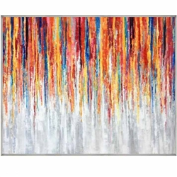 Color Burst Modern Art with Silver Floating Frame available