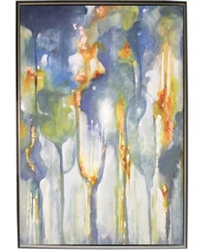 Rainbow Eucalyptus Modern Art  with Silver Floating Frame available