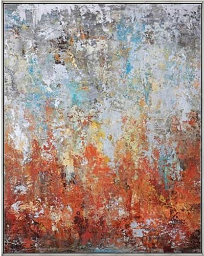 "Autumn Rise Modern Art 43""W x 53""H with Silver Floating Frame available at Modern Home 2 Go"