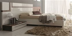 Sinthesis Modern Queen Bed with interior compartment in Walnut and White