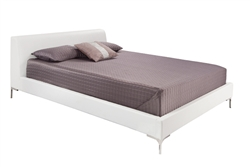 Angelo Modern King Bed in White Leatherette