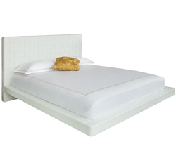 Lugo Modern King Bed in White Leatherette