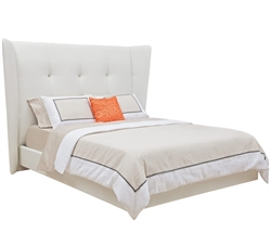 Corsica Modern King Bed in White Leatherette