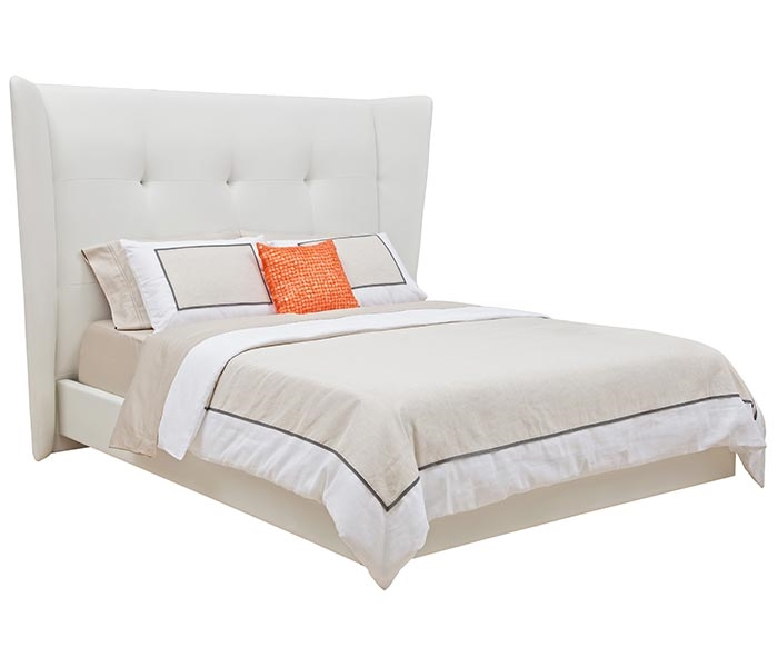 This Modern Bed has a high frame with white diamond shaped pattern Leatherette and Grey Pipping. Available in Queen or King Size.