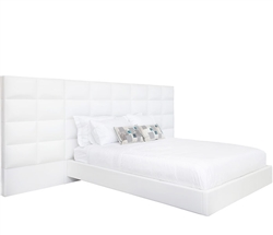 Palermo Modern Queen Bed in White Leatherette  With Side Panels