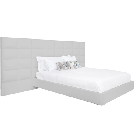 Palermo Modern Bed in Grey Leatherette with Side Panels - King