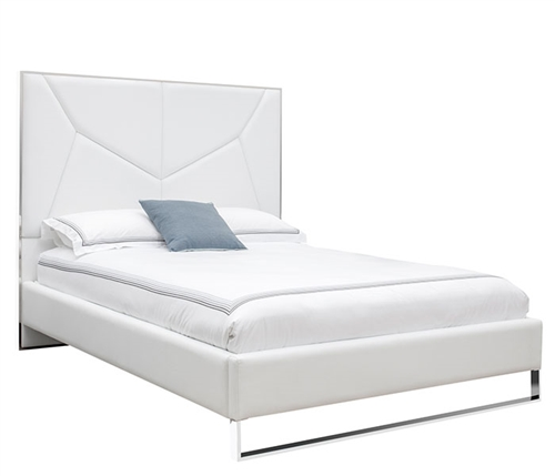 Chiesa Modern Bed in White Leatherette