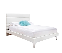 Bosa Modern  Bed King White Leatherette Tall Back