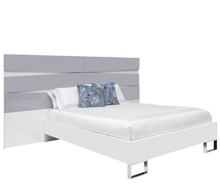 Salerno Modern Bed Grey and White Lacquer Headbord - Queen