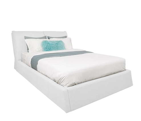 Bella Modern WHITE Blended Leather Italian Bed in QUEEN
