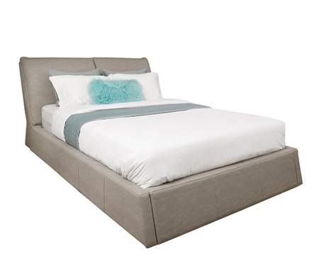 Bella Modern GREY Blended Leather Italian Bed in QUEEN