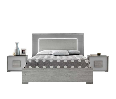 Lia Modern GREY fabric and wood with LED lighting Italian Bed - QUEEN